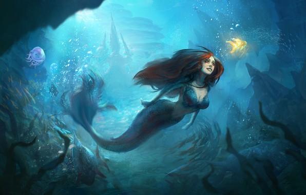 Picture look, mermaid, art, goldfish, under water, mermaid