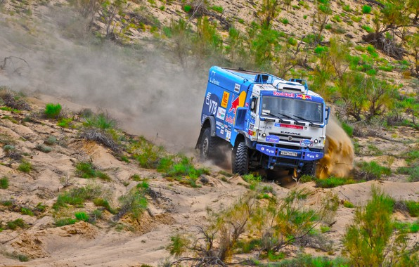 Photo wallpaper The sky, Sand, Nature, Sport, Speed, Turn, Truck, Race, Master, Beauty, Russia, Beast, 307, Kamaz, ...