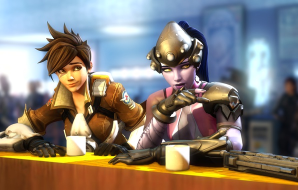 Picture girl, stay, meeting, the evening, bar, blizzard entertainment, Overwatch, tracer, Widowmaker, Lena Oxton, Amélie Lacroix