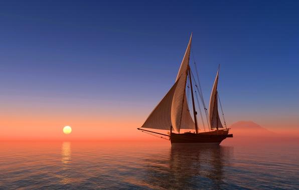 Picture sea, the sky, the sun, sunrise, coast, ship, sailboat, horizon, 3D Graphics