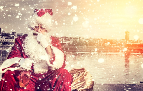 Picture holiday, bottle, cigar, New year, Santa Claus, Santa Claus