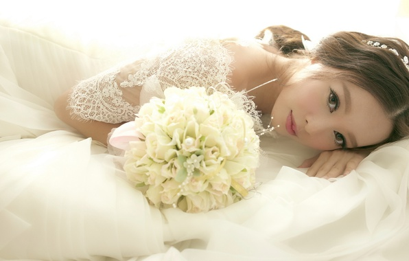 Picture look, flowers, bouquet, dress, Asian, the bride, wedding