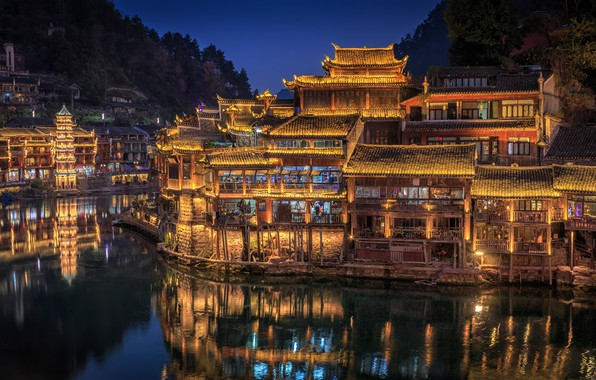Picture trees, night, lights, river, home, China, Hunan Province