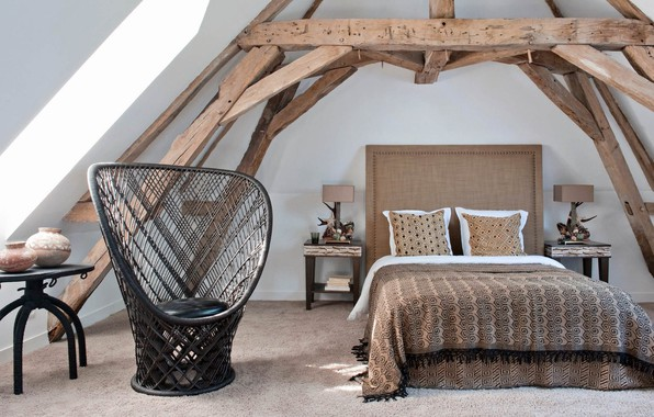 Picture room, interior, bedroom, Eclectic Residence in France