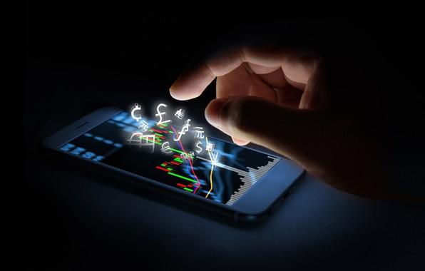 Picture creative, speed, blur, Finance, hi-tech, bokeh, smartphone, smartphone, wallpaper., technology, stock exchange, cyberspace, lights light, …