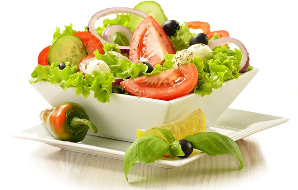 Picture tomatoes, salad, olives, Greek