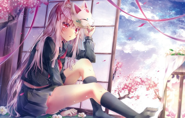 Picture the sky, girl, clouds, flowers, tape, tree, anime, petals, Sakura, mask, form, schoolgirl, tetsu tissue