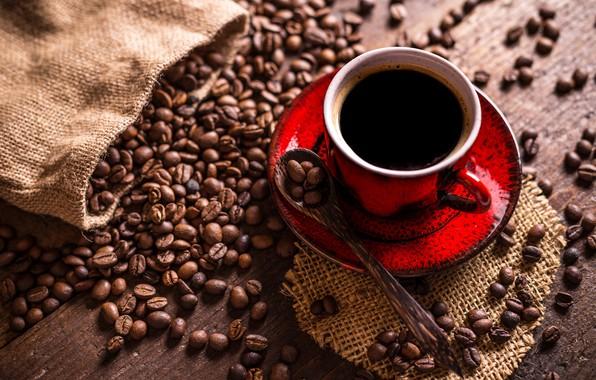 Picture coffee, spoon, Cup, burlap, saucer, grain
