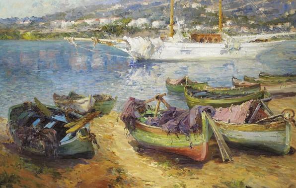 Picture sea, ship, picture, boats, Mediterranean Port, Gustave Deloye