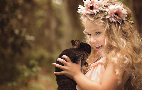 Picture joy, flowers, nature, smile, animal, rabbit, girl, wreath, child, curls