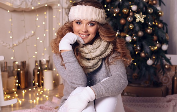 Picture look, girl, smile, mood, new year, makeup, hairstyle, sitting