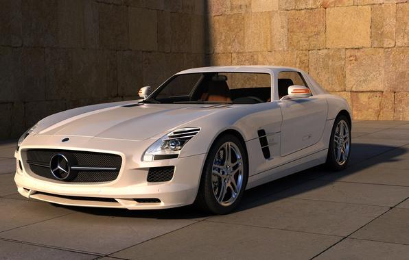 Picture white, street, white, mercedes, Mercedes, benz, sls, amg, street, auto wallpapers, AMG, SLS, Benz