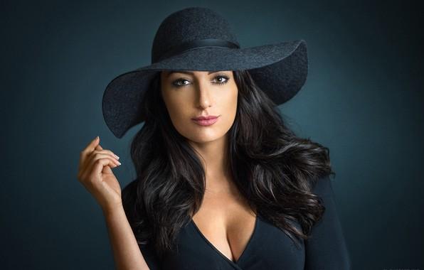 Picture pose, background, model, portrait, hat, makeup, dress, brunette, hairstyle, beauty, in black, Lods Franck, Cassandra