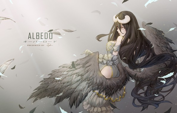 Picture girl, wings, anime, feathers, art, horns, albedo, overlord