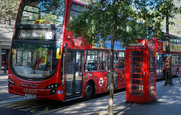 Photo wallpaper red, city, the city, street, view, England, London, panorama, bus, red, architecture, london, photography, UK, ...