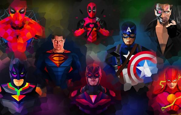 Picture purple, orange, blue, yellow, red, green, weapons, grey, lilac, power, pink, batman, spider-man, spider-man, green, ...