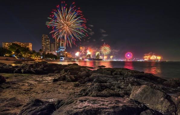 Picture sea, beach, the sky, night, lights, stones, holiday, coast, home, salute, Thailand, Thailand, Pattaya, Pattaya
