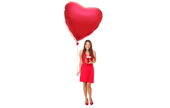 Picture girl, joy, smile, gift, dress, hairstyle, white background, brown hair, in red, heart, Valentine's day, ...
