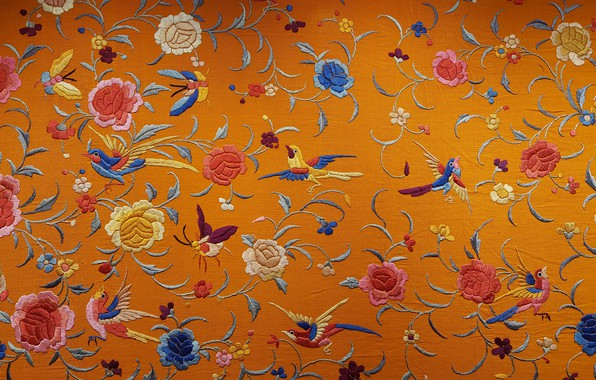 Picture flowers, birds, texture, fabric, silk, embroidery, Chinese silk