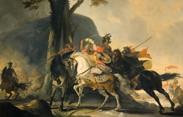 Picture oil, picture, canvas, history, battle, Cornelis Trost, Alexander the Great in battle with the Persians …