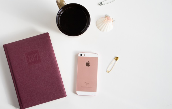Picture apple, coffee, Notepad, phone, shell, iphone, diary, 2017