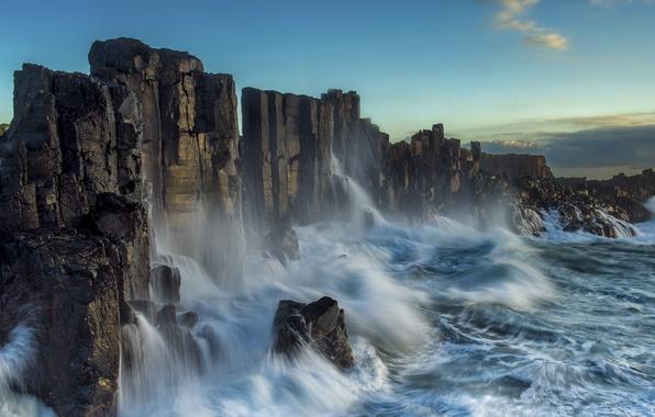 Picture waves, sky, photography, landscape, nature, photo, clouds, rocks, Sea, cliffs, long exposure
