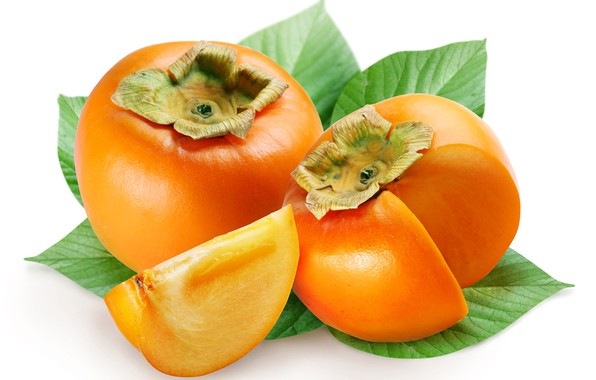 Picture rendering, white background, fruit, picture, persimmon, the ripe fruit, green leaves