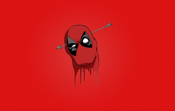 Picture red, blood, Deadpool, mask, head, Wade Wilson, arrow, Marvel comics