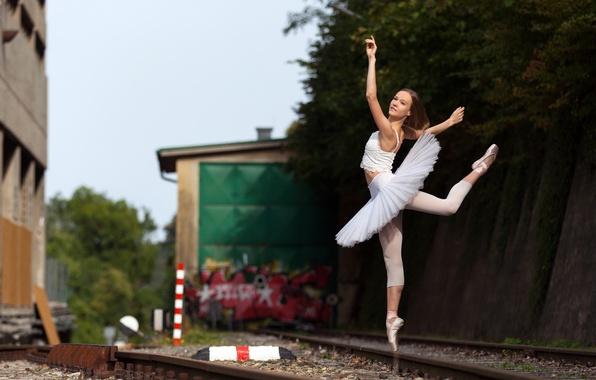 Picture railroad, ballerina, Anastasiya