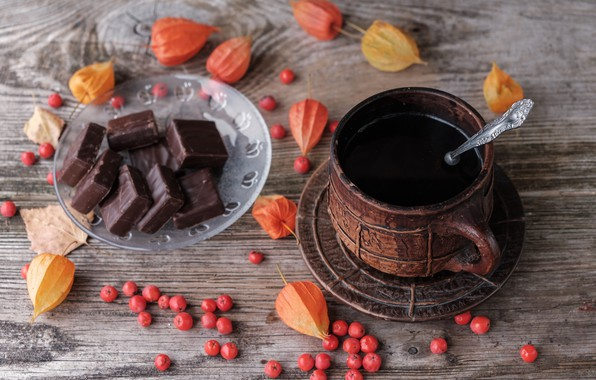 Picture leaves, berries, coffee, chocolate