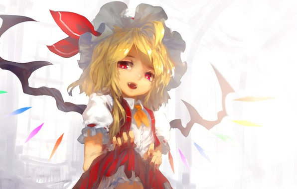Picture fangs, crystals, red eyes, baby, art, vampire, Touhou Project, Flandre Scarlet, Project East, Tlman