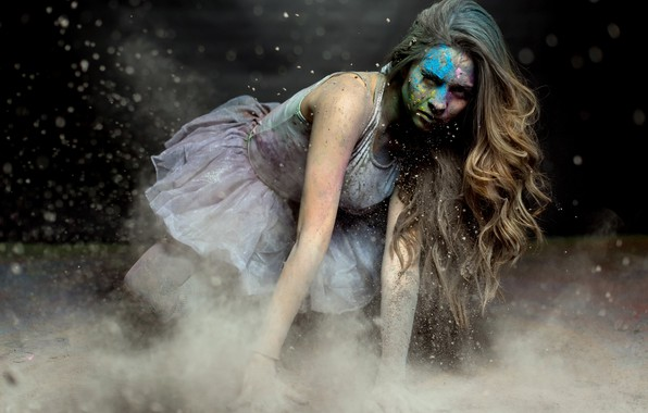 Picture girl, paint, dust