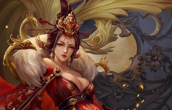 Picture look, girl, flowers, patterns, fantasy, art, hairstyle, geisha, kimono