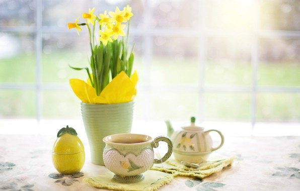 Picture flowers, table, tea, kettle, Cup, vase, still life, Narcissus