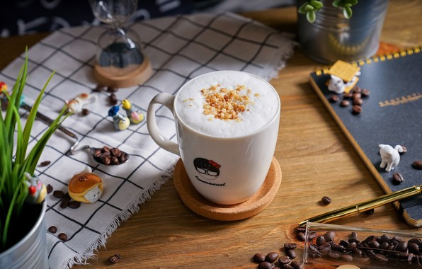 Picture coffee, Cup, coffee beans, decor