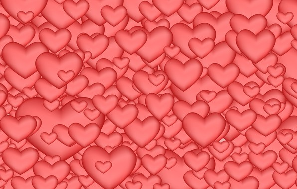 Picture Hearts, Pink Background, Abstraction