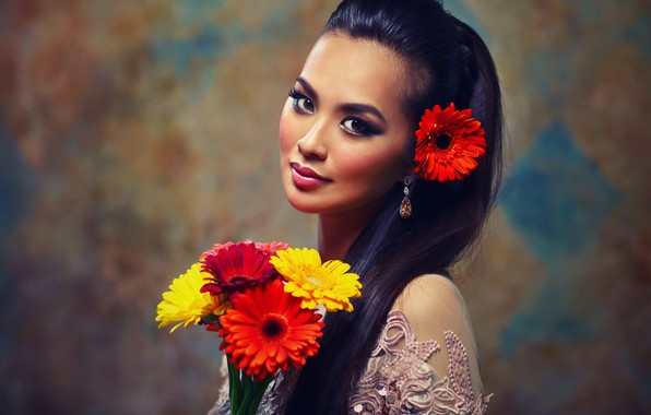 Picture decoration, flowers, background, portrait, bouquet, makeup, brunette, hairstyle, outfit, red, Asian, beauty, gerbera, yellow, bokeh