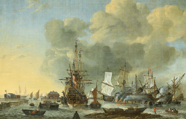 Photo wallpaper sail, The caulking of the Vessel in Amsterdam, Reinier Nooms, oil, ship, canvas, picture