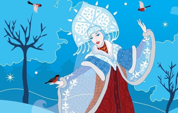 Picture winter, snow, holiday, vector, art, New year, Maiden, bullfinches