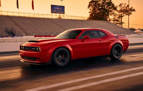 Picture Challenger, red, sportcar, 2018, musclecar, SRT, Track, Demon, Drag Racing