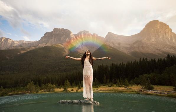 Picture girl, lake, rainbow