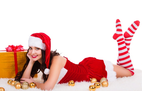 Picture balls, gift, hat, toys, new year, Christmas, stockings, makeup, dress, brunette, hairstyle, white background, lies, …