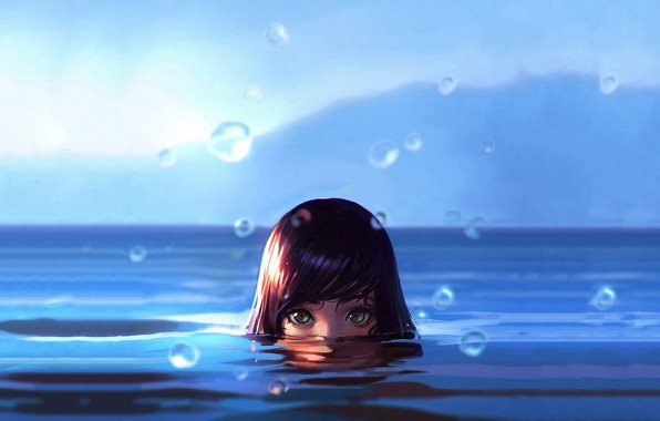 Photo wallpaper Girl, wet, green eyes, sea, water, art, water drops, face, digital art, artwork