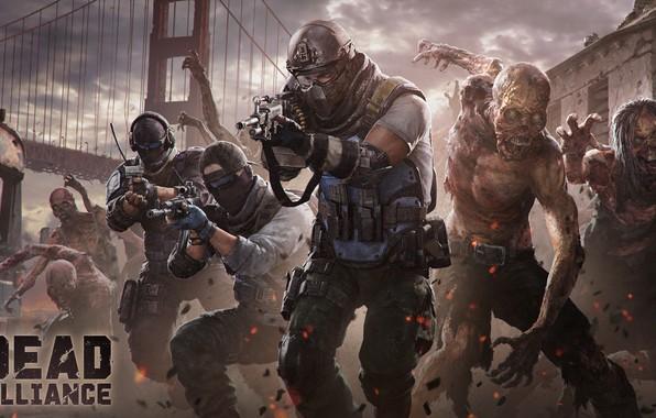 Picture bridge, zombies, warriors, Dead Alliance