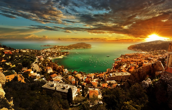 Picture sea, the sky, the sun, clouds, rays, trees, sunset, mountains, coast, home, Bay, yachts, boats, …
