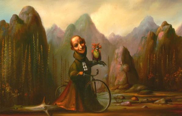 Picture mountains, bike, parrot, Surrealism, Lazarev I. A