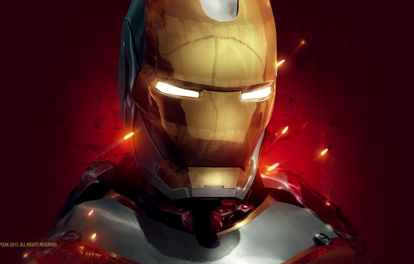 Picture red, background, fiction, art, sparks, costume, helmet, Iron man, Iron Man, Tony Stark