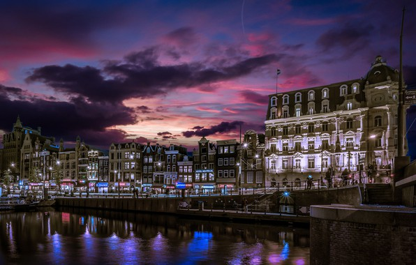 Picture building, home, Amsterdam, channel, Netherlands, night city, promenade, Amsterdam, Holland, Netherlands, Jordaan, Jordan, Singelgracht Canal