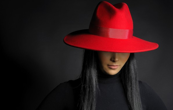 Picture red, hat, brunette