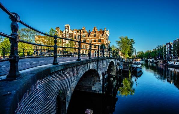 Picture bridge, building, home, Amsterdam, channel, Netherlands, Amsterdam, Netherlands